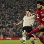 Pemain Liverpool, Mohammed Salah saat berusaha mencetak gol ke gawang Manchester United. (ist)