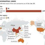 Peta sebaran Virus Corona (coronavirus) di dunia. Tercatat ada 14 negara yang konfirmasi temuan kasusnya. Termasuk 4 negara Asean (Thailand, Singapura, Malaysia dan Vietnam).