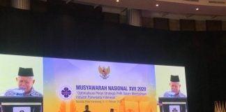 Wapres KH Ma'ruf Amin saat memberikan sambutan dalam Munas ke 17 PHRI di Karawang, Jawa Barat, Senin (10/2/2020) (kaldera/armin nasution)