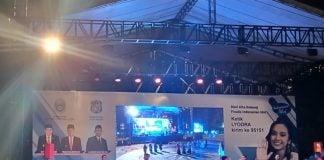 Suasana panggung nonton bareng Indonesian Idol mendukung Lyodra Ginting di Lap Merdeka, malam ini.