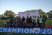 Inalum FC berfoto bersama usai menerima hadiah. Tim ini keluar sebagai juara 2 Piala Inalum 2020.