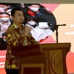 Kepala Dinas Kesehatan Sumut, Alwi Mujahit Hasibuan, saat memberikan kata sambutan pada pertemuan Koordinasi Kesiapsiagaan Menghadapi Penyebaran Virus Corona di Aula Raja Inal Siregar Kantor Gubernur Sumut