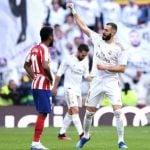 Penyerang Real Madrid, Karim Benzema mencetak gol tunggal kemenangan Real Madrid atas Atletico Madrid pada laga pekan ke-22 La Liga Spanyol di Santiago Bernabeu, Sabtu (1/2/2020).