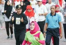 Plt Walikota Medan, Akhyar Nasution saat CFD di Lapangan Merdeka Medan.