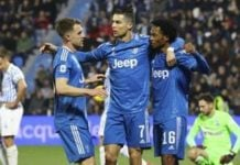 Striker Juventus, Cristiano Ronaldo saat selebrasi gol nya ke gawang SPAL. (ist)