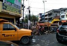 Jalan depan Polsek Medan Area diperbaiki.