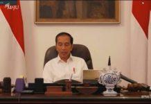 Presiden Jokowi saat ratas dengan Gubernur se Indonesia lewat teleconference, Selasa (24/3/2020)