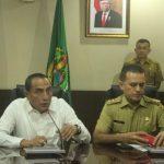 Gubsu ( Gubernur Sumatera Utara ) Edy Rahmayadi Bersama Wagubsu, Musa Rajekshah dalam Konferensi Pers di Kantor Pemprovsu Terkait Virus Corona, (Senin 16/3/2020).