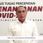 Gubernur Sumatera Utara, Edy Rahmayadi pada saat siaran persnya, Sabtu (4/4/2020).
