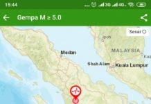Gempa berkekuatan 5,6 magnitudo mengguncang daerah Kabupaten Padang Lawas, Sumatera Utara