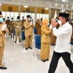 Gubernur Sumatera Utara, Edy Rahmayadi melantik 46 pejabat eselon III di Pendopo Rumah Dinas, Jalan Jenderal Sudiman Nomor 41 Medan