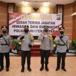 Foto bersama usai Sertijab di Aula Tribrata Mapolda Sumut, Jumat (19/6/2020).