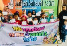 Para anak yatim yang berada di Yayasan Yatim Indonesia dalam program THR Lebaran beberapa waktu lalu.