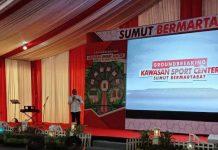 Gubernur Sumatera Utara (Sumut), Edy Rahmayadi saat peletakan baru pertama pertanda memulai pembangunan Sport Center Sumut.