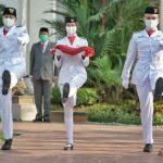 Peringatan HUT Kemerdekaan Indonesia ke -75 di Halaman Kantor Walikota Medan, Jalan Kapten Maulana Lubis, Senin (17/8/2020).