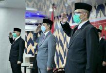 Peringatan Upacara Peringatan HUT Kemerdekaan di Istana Negara melalui virtual di Command Center Kantor Walikota Medan, Senin (17/8/2020).