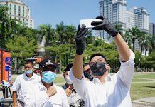 Bobby Nasution saat acara nasional Yustisi Penggunaan Masker