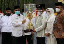 Plt Walikota Medan, Akhyar Nasution saat Kafilah Kota Medan kembali meraih juara umum MTQ ke-37 tingkat Sumatera Utara.