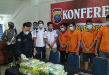 Konferensi pers terkait kasus penyitaan 5 kilogram sabu dari Mes Pemko Tanjungbalai.