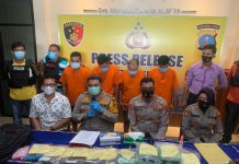 Team Unit Reskrim Polsek Patumbak saat press release.