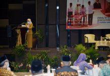 Sekretaris Daerah Provinsi (Sekdaprov) Sumut R Sabrina saat membuka Gelar Wicara Nasional Bahasa dan Kemandirian Bangsa.