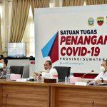 Gubernur Sumatera Utara (Sumut) Edy Rahmayadi memimpin rapat Tim Pengendali Inflasi Daerah (TPID) Sumut terkait review inflasi Sumut di Pendopo Rumah Dinas Gubernur Sumut Jalan Jenderal Sudirman Medan, Rabu (21/10/2020).