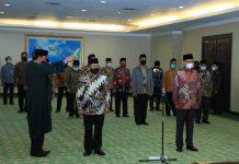 Pelantikan Prof Dr Syahrin Harahap sebagai Rektor UINSU dan dilantik oleh Menteri Agama RI, Fachrul Razi di Kantor Kemenag Jakarta.
