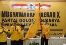 Pelantikan Ketua DPD I Golkar Sumatera Utara (Sumut), Musa Rajekshah (Ijeck) dan pengurus Golkar periode 2020-2025 di Hotel Adimulia Medan.