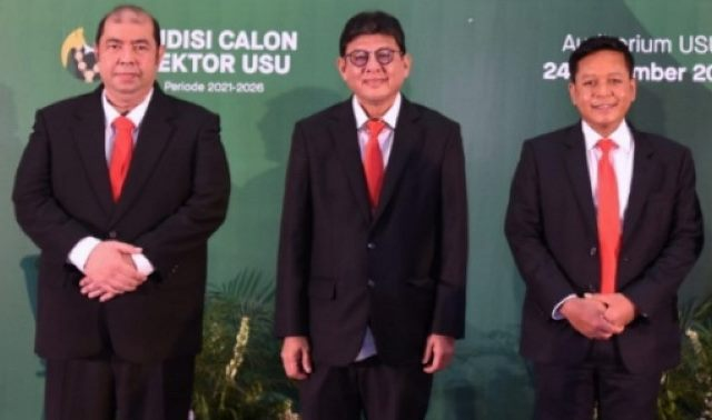 Tiga Calon Rektor USU. Dari kiri ke kanan Prof Farhat, Prof Arif Nasution dan Dr Muryanto Amin.(ist)