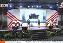 Suasana debat kedua Pilkada Medan, Sabtu (21/11/2020) malam. Debat ini disiarkan langsung TVRI.