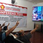 Suasana nobar debat Pilkada Medan di Kantor Partai Gerindra Sumut