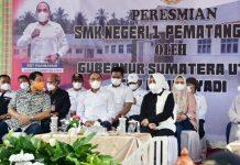 Gubernur Sumatera Utara (Sumut) Edy Rahmayadi didampingi Sekda Kabupaten Langkat, Indra Salahuddin, meresmikan Sekolah Menengah Kejuruan (SMK) Negeri 1 Pematang Jaya
