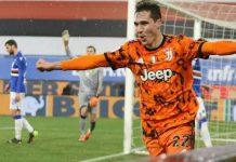 Frederico Chiesa merayakan golnya ke gawang Sampdoria.