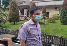 Rektor USU Runtung Sitepu saat ditanya wartawan usai diklarifikasi penyidik Polda Sumut, Kamis (21/1/2021).(mustivan/kaldera)