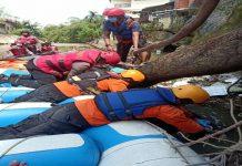 Pencarian hari ketiga terhadap Aldi, 20, warga Kelurahan Sei Mati, Medan Maimun yang melompat ke sungai saat digrebek polisi