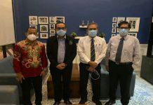Dari kiri M Zakaria, Denny S Wardhana, Rico W Siagian dan Melkhy Waas usai memberikan keterangan kepada wartawan di Medan.