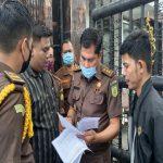 Sejumlah Mahasiswa dari Aliansi Mahasiswa Anti Korupsi Sumatera Utara (AMKSU), menggelar aksi unjuk rasa di depan Kantor Kejaksaan Tinggi (Kejati) Sumatera Utara, Jalan Jendral Besar A.H. Nasution Medan, Senin (8/3/2021).