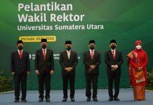 Majelis Wali amanat (MWA) Universitas Sumatera Utara (USU) melantik lima wakil rektor yang akan mendampingi Muryanto Amin selaku rektor periode 2021-2026.
