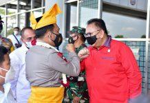 Forum Koordinasi Pimpinan Daerah (Forkopimda) Sumatera Utara, menyambut kedatangan Kapolda Sumut yang baru yakni, Irjen Pol Panca Putra di ruang VIP Bandara Kualanamu, Deliserdang, pada Rabu (10/03/2021) siang.