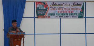 Rektor UINSU Prof Syahrin Harahap saat menghadiri pelantikan LPNU Provinsi Sumut, kemarin.(ist)