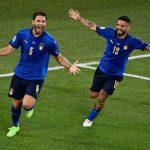 Italia memastikan tim pertama yang lolos ke babak knock out Euro 2020 setelah mengalahkan lawannya, Swiss, 3-0 dalam penyisihan Grup A di Stadion Olimpico, Roma, Kamis dini hari (17/6/2021).