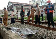 Jasad Zufrizal (37) ditemukan tewas di perlintasan kereta api Medan- Siantar Jalan Kalianda, Kecamatan Medan Area tepatnya didepan Thamrin Plaza, Selasa (6/7/2021).