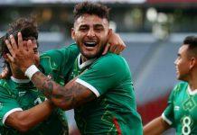 Pemain Meksiko merayakan kemenangan atas Perancis 4-1 di Olimpiade Tokyo 2020.