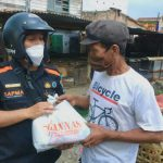 Satuan Pelajar Mahasiswa Gerakan Anti Narkotika Nasional (Sapma Gannas) Kota Medan membagikan sebanyak 500 paket sembako kepada Pedagang Kaki lima (PKL) yang terkena dampak Pemberlakuan Pembatasan Kegiatan Masyarakat (PPKM) di beberapa titik Kota Medan, Rabu (28/07/2021)