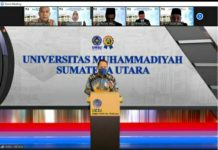 Rektor UMSU saat memberikan kata sambutan secara daring usai Penyerahan SK Pengangkatan Pimpinan Prodi.