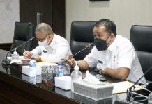 Wakil Walikota Medan, Aulia Rachman saat memimpin rapat terkait pergantian nama IMB menjadi PBG di Ruang Rapat III Kantor Walikota Medan, Kamis (9/9/2021)