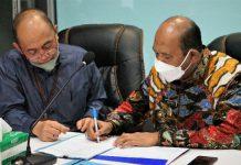 Wakil Bupati, Syah Affandin menghadiri RUPS luar biasa Bank Sumut secara virtual dari Ruang LCC Kantor Bupati Langkat, Jumat (10/9/2021).