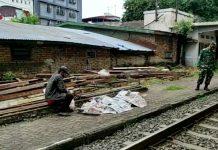 Jasad seorang pria ditemukan tewas di perlintasan kereta api Medan- Tebing Tinggi Jalan Thamrin, Rabu (15/9/2021).