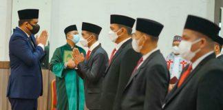 Walikota Medan, Bobby Nasution melantik 12 direksi di tiga perusahaan umum daerah (PUD) milik Pemko Medan di Ruang Rapat III Kantor Walikota Medan, Rabu (22/9/2021).