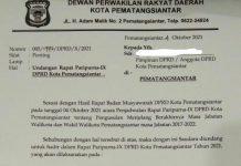DPRD Pematangsiantar berencana menggelar sidang paripurna dengan agenda pemberhentian walikota- wakil walikota, Hefriansyah - Togar Sitorus, Selasa (5/10/2021).